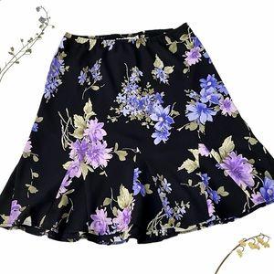 Vintage Karin Stevens floral skirt, black lilac